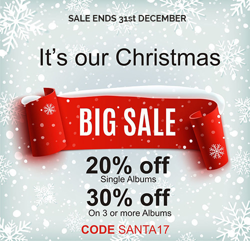 It's our Christmas Big Sale. 20% Off Single Albums. 30% off on 3 or more albums. Code SANTA17.