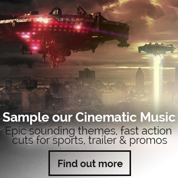 Sample our Cinematic Music. Epic sounding themes, fast action cuts for sports, trailer & promos.