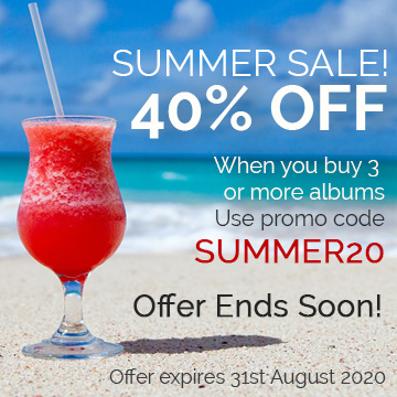 Summer Sale 40% off. When you buy 3 or more albums. Use promo code SUMMER20.